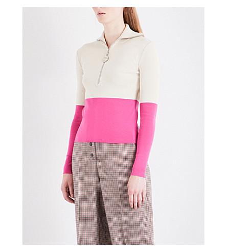 NATASHA ZINKO Funnel neck knitted top (Grey/pink