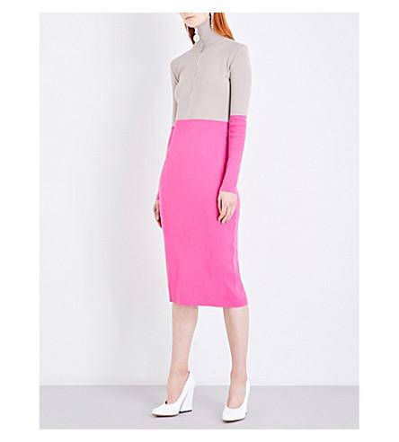 NATASHA ZINKO Contrast-panel zip-up knitted dress (Grey/pink