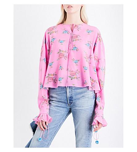 NATASHA ZINKO Bell-cuff floral-print silk top (Pink/grey