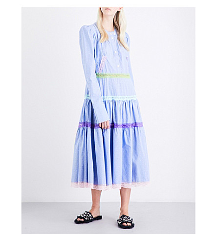 NATASHA ZINKO Puff-shoulder lace-trim cotton dress (Blue