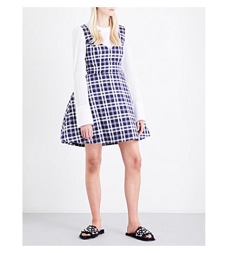 NATASHA ZINKO Tulip-skirt check-print cotton dress (Blue-white