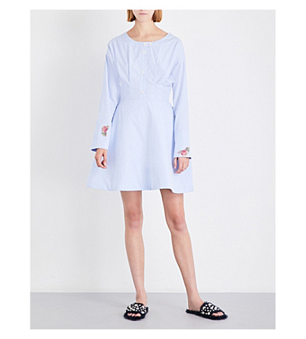 NATASHA ZINKO Bead-embellished boat-neck cotton-blend dress (Light+blue