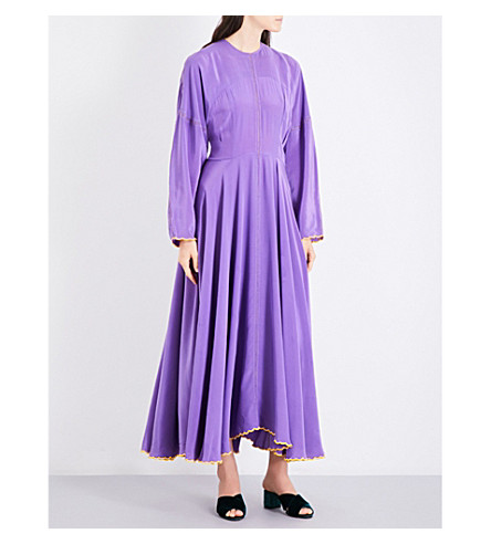 NATASHA ZINKO Rickrack-trim silk maxi dress (Violet