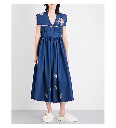 NATASHA ZINKO Floral-embroidered denim midi dress (Denim