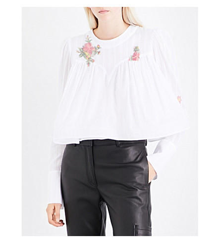 NATASHA ZINKO Puff-shoulder floral-embellished cotton-voile top (White