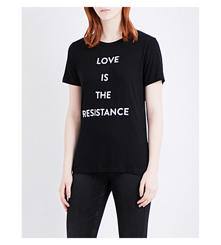 PRABAL GURUNG Love is the resistance jersey T-shirt (Black