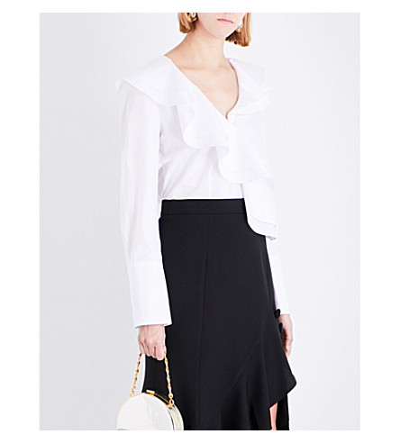 PRABAL GURUNG Ruffled cotton blouse (White