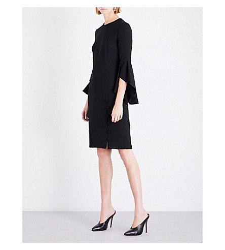 PRABAL GURUNG Flounce-sleeved chiffon dress (Black