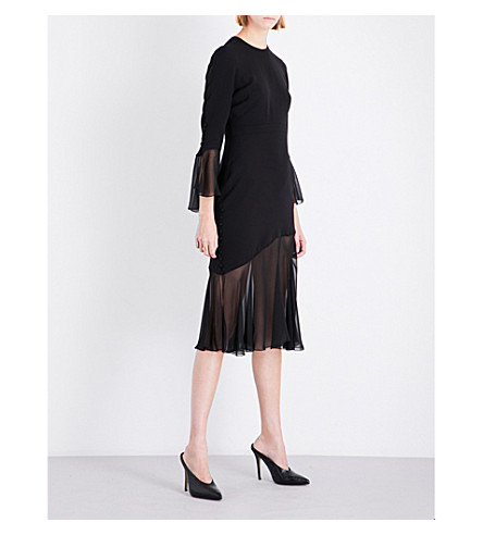 PRABAL GURUNG Flounce-detail silk dress (Plain+black