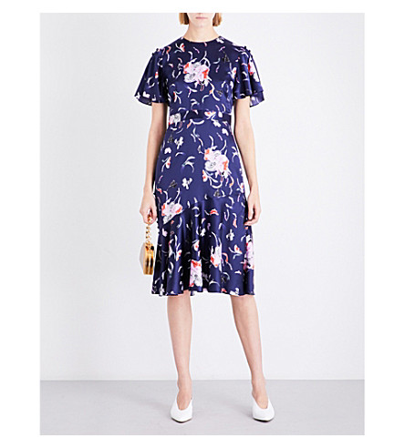 PRABAL GURUNG Flounced-hem floral silk dress (Navy+multi