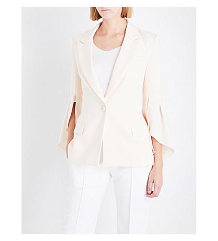 PRABAL GURUNG Ruffled-sleeve crepe jacket (Ivory