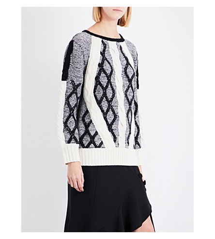 PRABAL GURUNG Chunky cable-knit jumper (Black/white