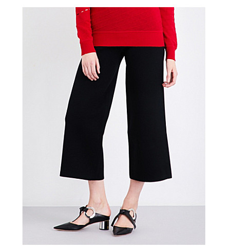 PRABAL GURUNG Flared cropped knitted trousers (Black