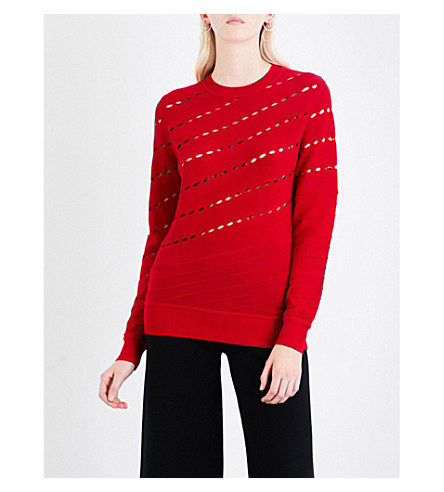 PRABAL GURUNG Pointelle-knit wool jumper (Red
