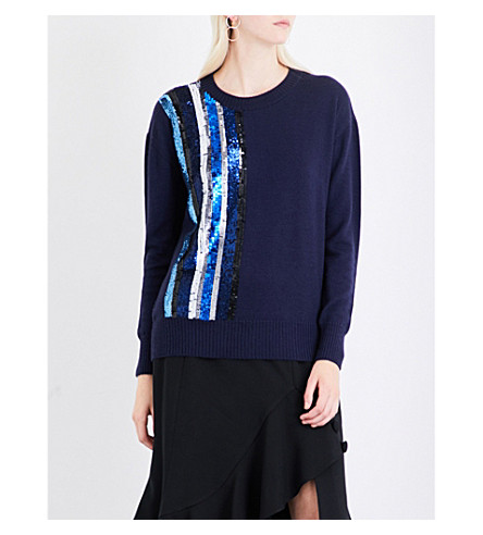 PRABAL GURUNG Sequin-embellished cashmere and silk-blend jumper (Navy