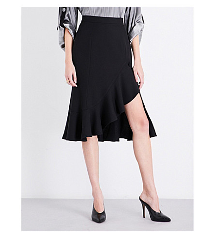 PRABAL GURUNG Ruffled high-rise chiffon skirt (Black