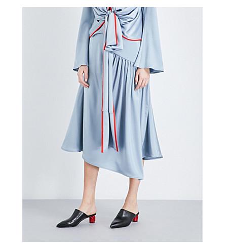 SIES MARJAN Gathered-detail silk-satin skirt (Baby+blue