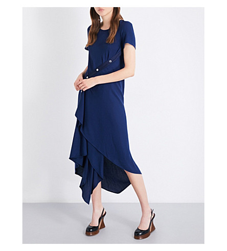 SIES MARJAN Sophie buttoned crepe dress (Navy