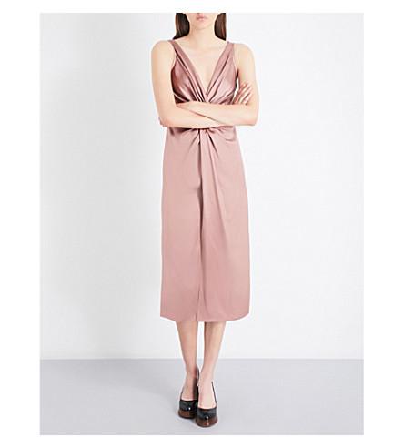 SIES MARJAN Mia twisted silk-satin dress (Putty