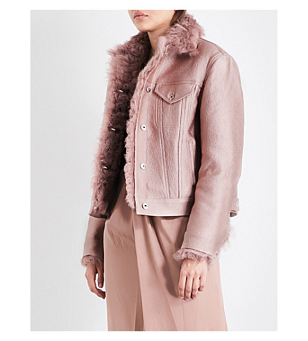 SIES MARJAN Wanda shearling and cotton-blend jacket (Putty