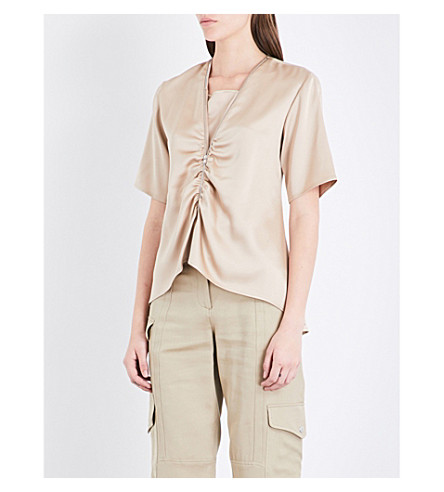 SIES MARJAN Keegan silk-satin top (Sand