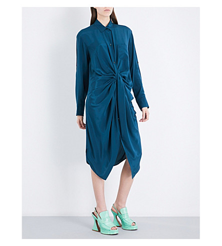 SIES MARJAN Georgina twisted silk-satin shirt dress (Dark+petrol