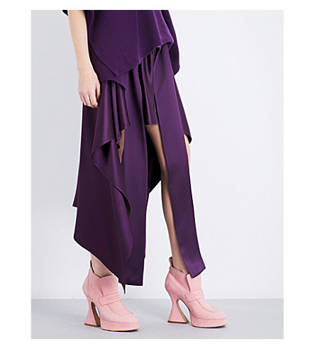 SIES MARJAN Megan silk-satin skirt (Plum