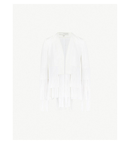 GALVAN Cortado fringed satin jacket (White