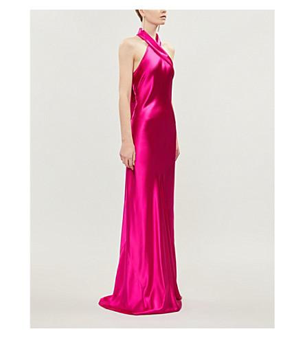 GALVAN Bias-cut silk-satin gown (Fuschia