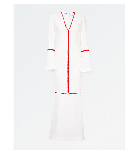 GALVAN Chan Chan crepe gown (White w/red