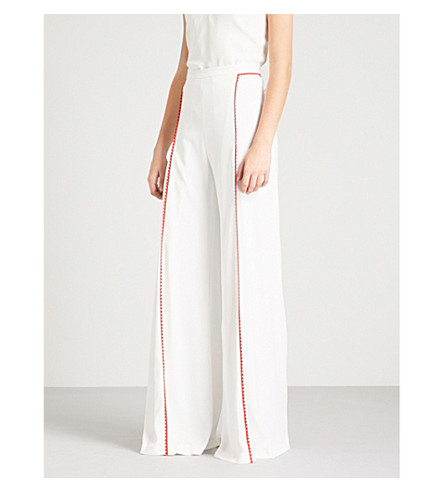 GALVAN Chan Chan crepe trousers (White+w/red