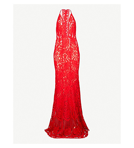 GALVAN Volcan sleeveless lace gown (Lava red