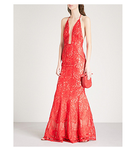 GALVAN Volcan sleeveless lace gown (Lava+red