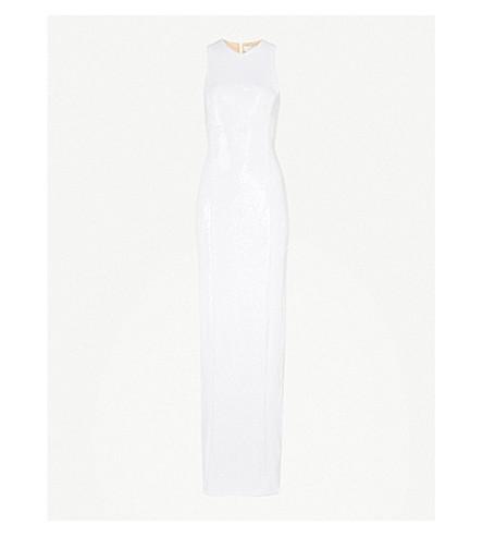GALVAN Salar sleeveless sequinned gown (White
