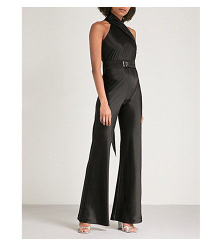 GALVAN Sash-embellished satin jumpsuit (Black