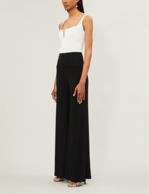 Eclipse satin and crepe jumpsuit