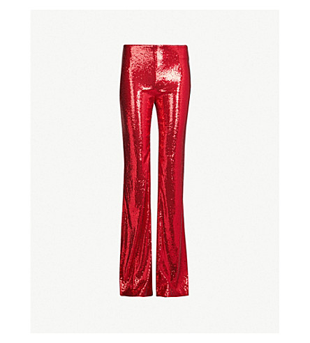 GALVAN Galaxy flared high-rise sequinned pants (Red