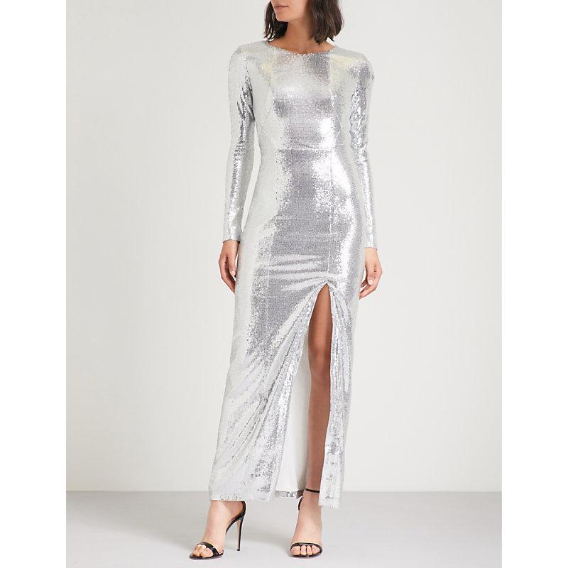 ADELA SIDE-SPLIT SEQUINNED MAXI DRESS