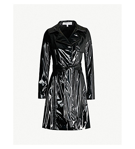 GALVAN Gloss patent trench coat (Black