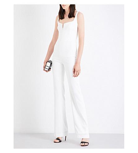 GALVAN Sweetheart-neckline crepe jumpsuit (White