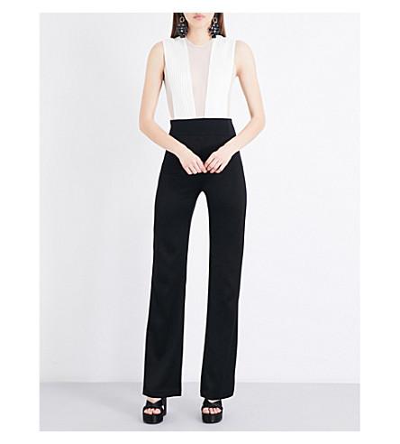 GALVAN Sheer-panel mesh and satin jumpsuit (Black+w/+white+top