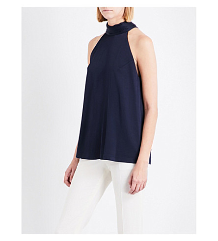 GALVAN Halterneck self-tie satin top (Midnight