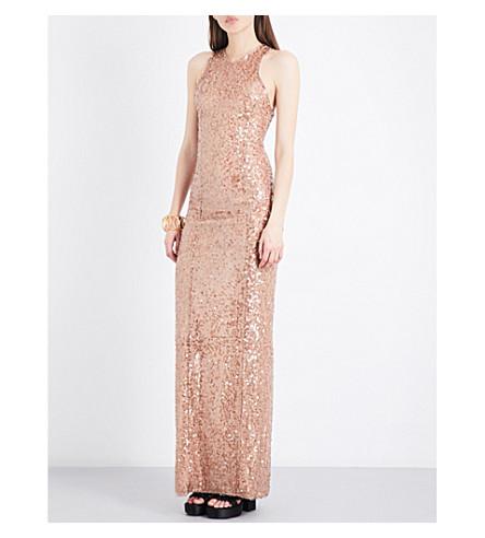 GALVAN Racerback sequin-embellished gown (Copper
