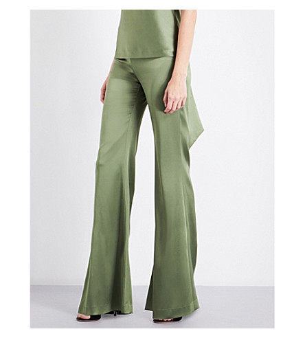 GALVAN Wide flared high-rise satin trousers (Olive