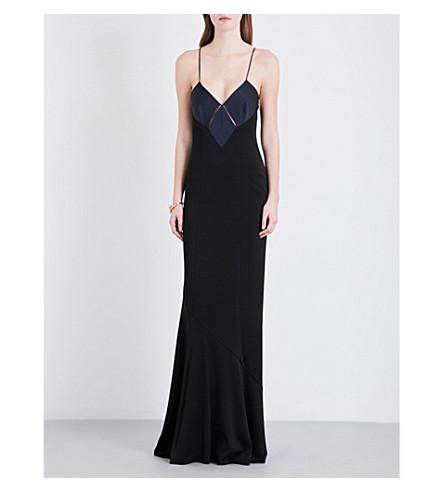 GALVAN Diamond-cutout crepe gown (Midnight w/black