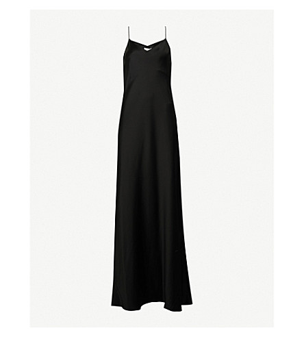 GALVAN Bias-cut satin slip maxi dress (Black