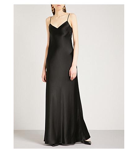 GALVAN Bias-cut satin slip maxi dress (Black