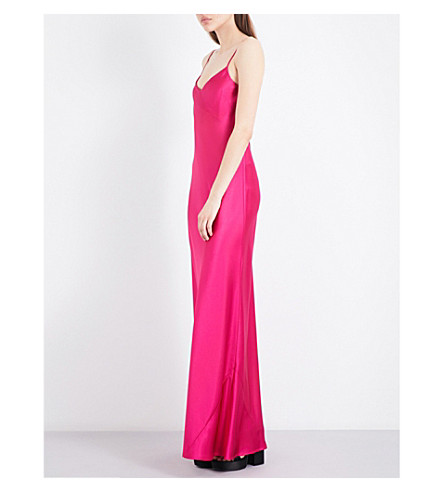 GALVAN Bias-cut satin slip maxi dress (Fuschia
