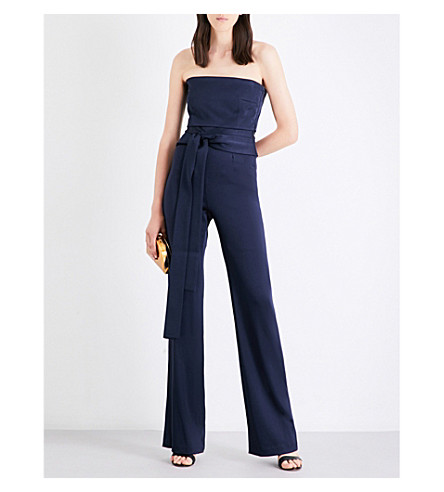 GALVAN Corset-tie satin jumpsuit (Midnight