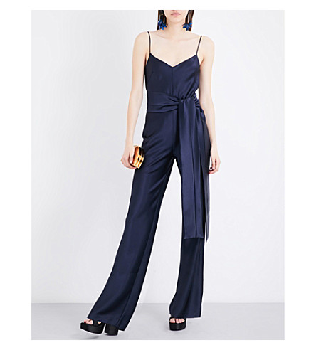 GALVAN Self-tie satin jumpsuit (Midnight